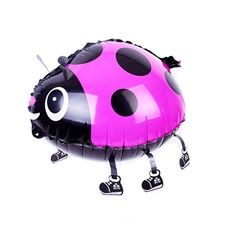 Gående Nyckelpiga Rosa Heliumballong