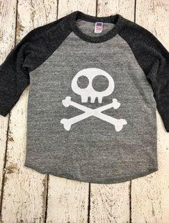 New lil threadz design posted! Skull and Crossbones shirt baseball shirt pirate  toddler tee kids shirt Pirate Birthday Shirt Boys Tee  skater kids clothing raglan by lilthreadzclothing