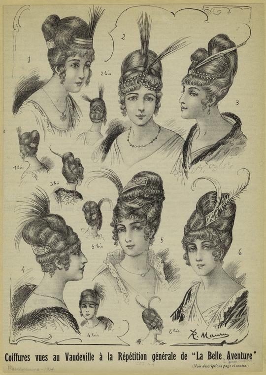 """Coiffures vues au Vaudeville à la répétition générale de """"La Belle Aventure"""". 1914"""