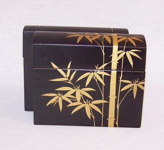 Asian Decor DOUBLE DECK Lidded PLAYING CARD CASE Box 2 DECKS HOLDER with Cards