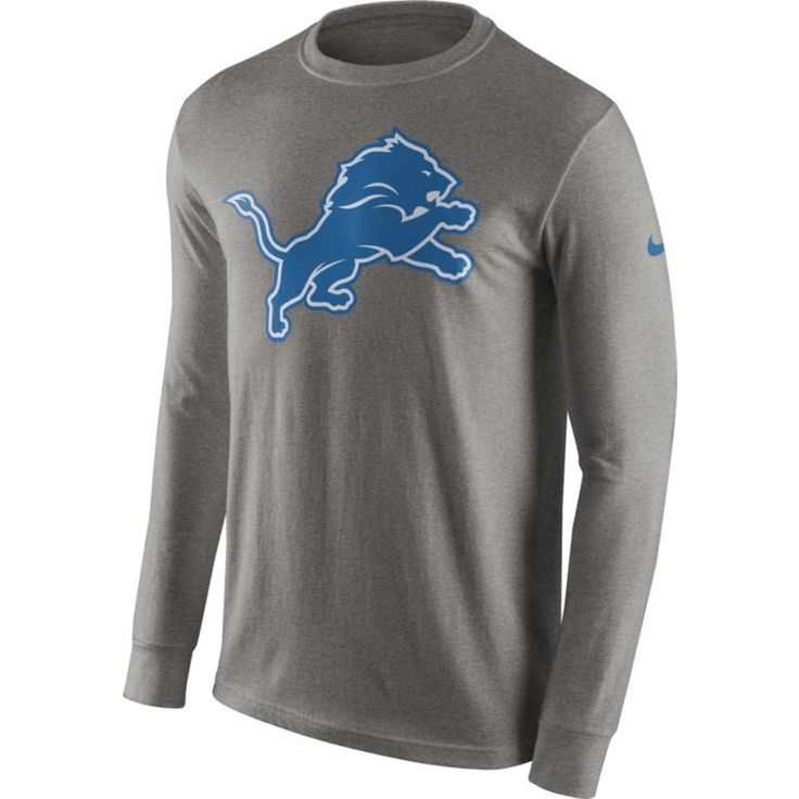 Nike Men's Detroit Logo Grey Long Sleeve Shirt, Size: Medium, Team