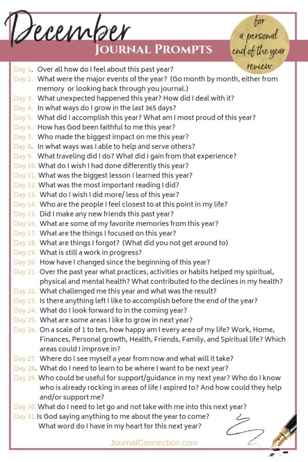 December Journal Prompts ~ 31 Questions you need to ask yourself before next year