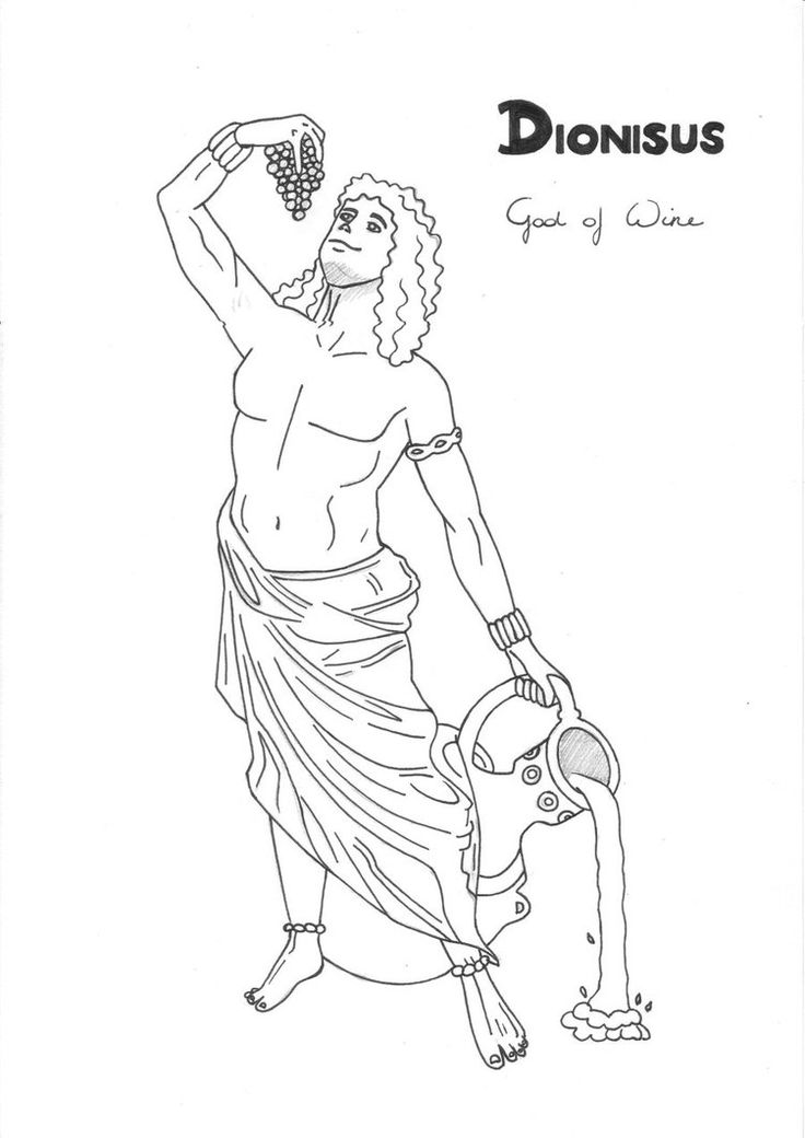 Dionysus coloring page Greek God mythology Unit study by LilaTelrunya