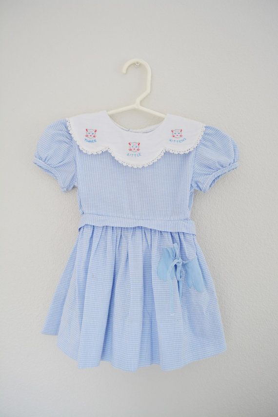 Vintage Girls Gingham Dress Three Little Kittens Lost Their Mittens Blue and White
