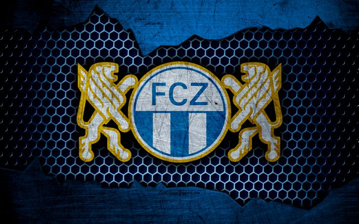 Download wallpapers FC Zurich, 4k, logo, Swiss Super League, soccer, football club, Switzerland, grunge, metal texture, Zurich FC