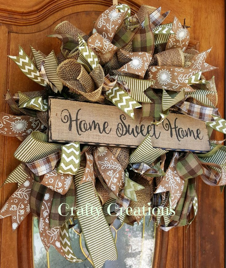 Country Fall Wreath Home Sweet Home Wreath Autumn Wreath Natural Burlap Mesh Wreath Everyday Wreath by CraftyCreations317 on Etsy