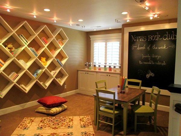 Cardboard by Sherwin Williams -playroom paint color: Playrooms Ideas, Playrooms Shelves, Frames Chalkboards, Kids Playrooms, Plays Rooms, Aka Playrooms, Paintings Colors Schemes, Chalkboards Wall, Kids Rooms
