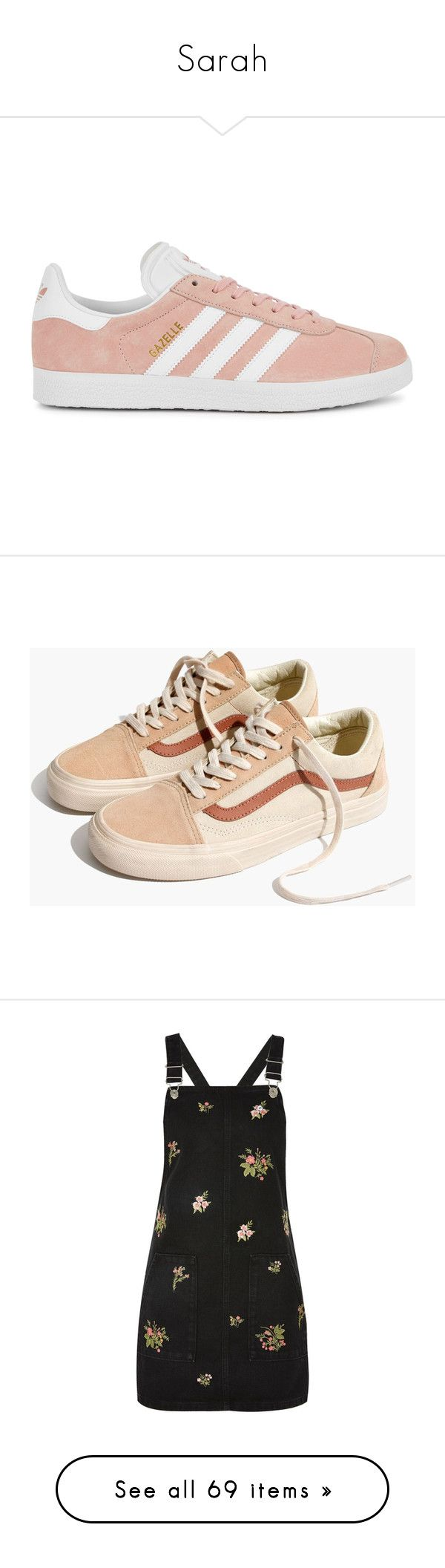 """""""Sarah"""" by sparkles-and-salamanders ❤ liked on Polyvore featuring shoes, sneakers, suede sneakers, round cap, adidas originals trainers, lace up sneakers, light pink shoes, camel mix, color block shoes and color block sneakers"""