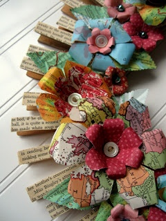 Clothespin Flower Wreath Upcycled Map Wreath