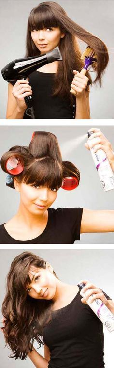 This is a fun way to start your day, blow out sections, roll up on velcro roller, spray, let cool, your hair will look great and you will feel ready for the day