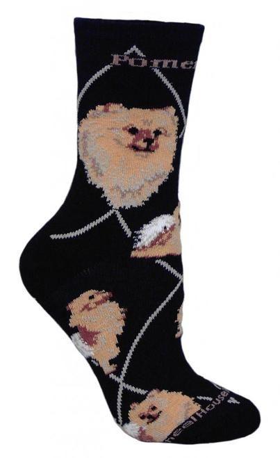 Pomeranian Dog Black Large Cotton Socks