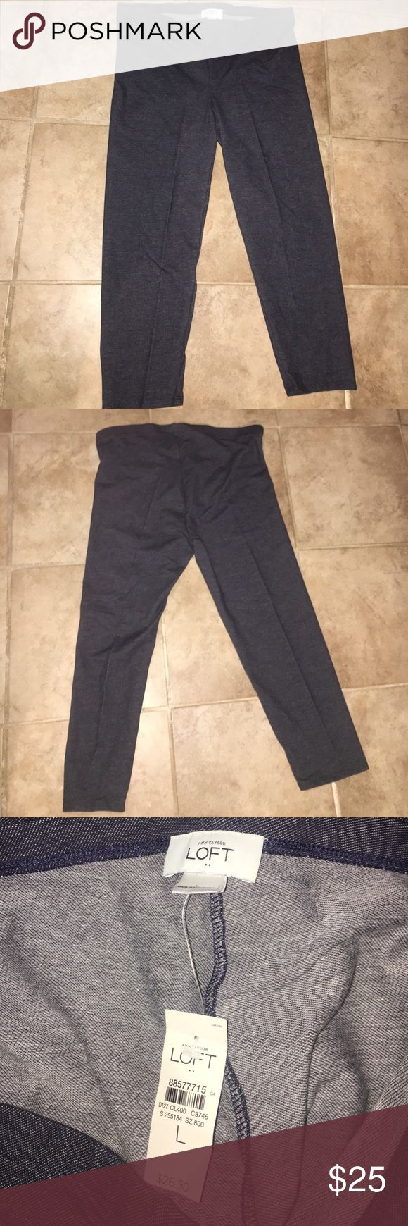Loft Women's Capri leggings Loft women's Capri  leggings. NWT! Made to replicate jeans with the heathered indigo color. Size large. LOFT Pants Leggings