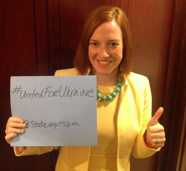 "Hash Tag Foreign Policy gets a thumbs up from former Obama campaign volunteer, now State Dept. ""spokesperson"", Jen Psaki, who is easily one of the 10 stupidest women in the Obama Admin. Second goes to another Statie, Marie Harf, the bottle-blond with the Big Black Glasses who is a half-wit."