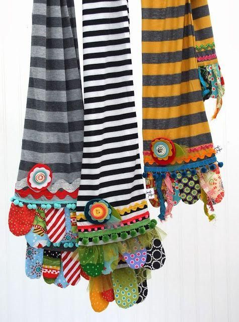 How to make Scrappy Happy Scarves - great for using up scraps! These would look cute as dish towels too