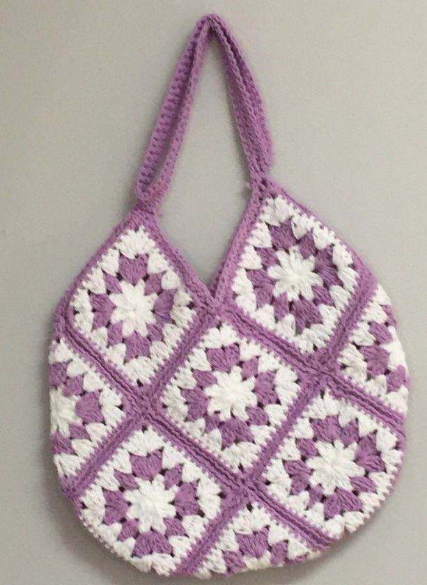 Lavender and White Thirteen Square Granny Bag, Cotton Square Granny Bag, Shoulder Bag,