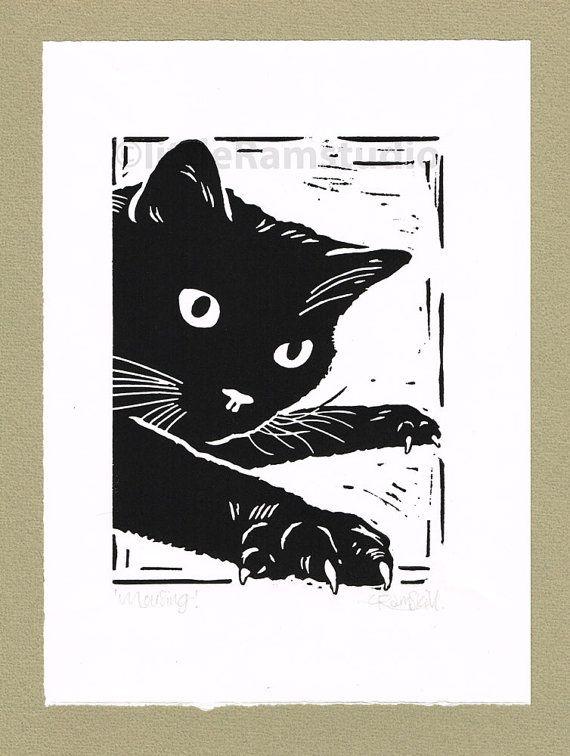 Black Cat, Mousing - Linocut. Original hand pulled Relief Print
