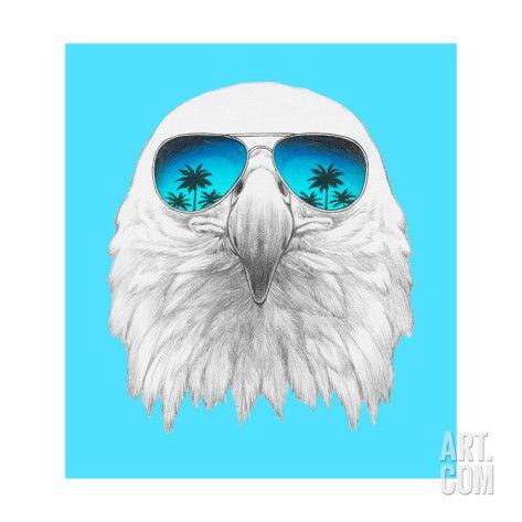 Art.fr - Reproduction d'art 'Portrait of Eagle with Mirror Sunglasses. Hand Drawn Illustration.' par victoria_novak