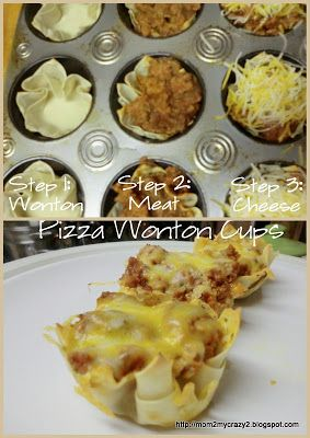Party Food .... Pizza Wonton Cups. Could also do Taco salad cups! :)