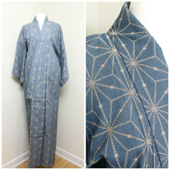 Japanese Vintage Kimono. Ikat / Kasuri Silk. Blue by FurugiStar