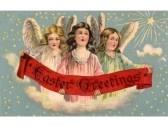 Une carte postale de Pâques de cru des trois anges tenant une bannière stock photography