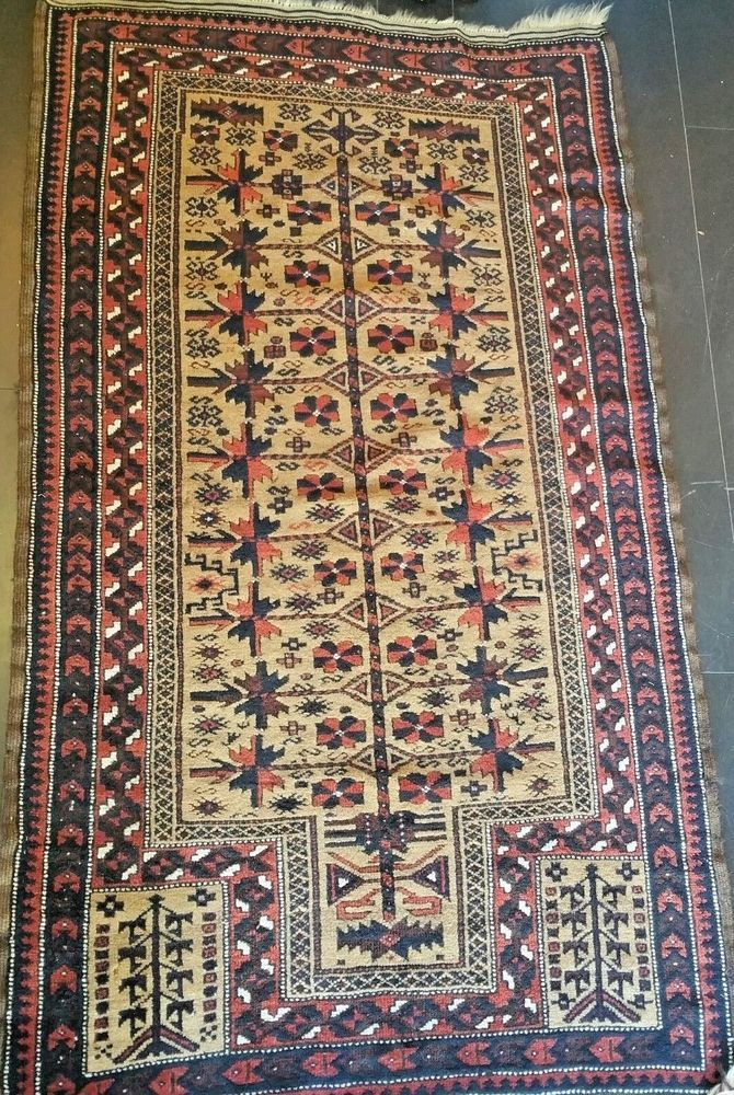 Antique Hand Knotted Authentic Baluchi Russian Caucasian Prayers Rug Prayer Teppich