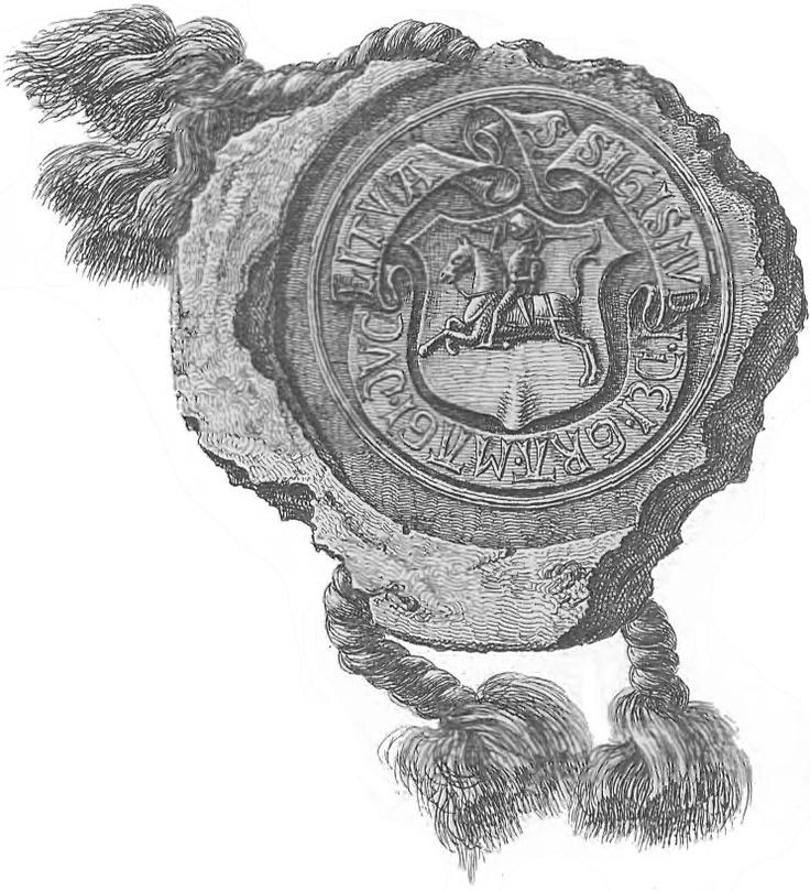 Пячатка Жыгімонта Старога з Пагоняй. Stamp of Žygimont Stary - ruler of the Grand Duchy of Lithuania.