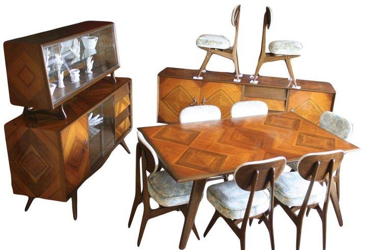 wowza! Impressive Vladimir Kagan/Scapinelli Style Mid Century Modern Dining Table Set