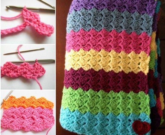 Rainbow+Blanket+Free+Pattern ☂ᙓᖇᗴᔕᗩ ᖇᙓᔕ☂ᙓᘐᘎᓮ http://www.pinterest.com/teretegui