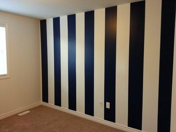 navy blue white vertical striped wall