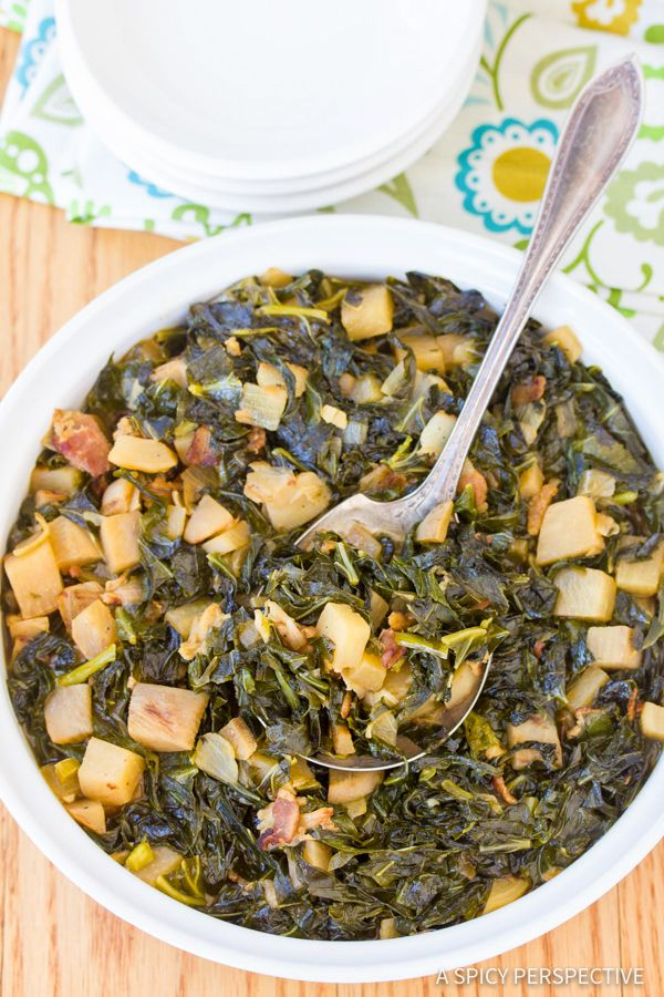 Sharing Asheville, North Carolina's HomeGrown's Perfect Southern Collard Greens Recipe, made available from the restaurant owners on A Spicy Perspective.
