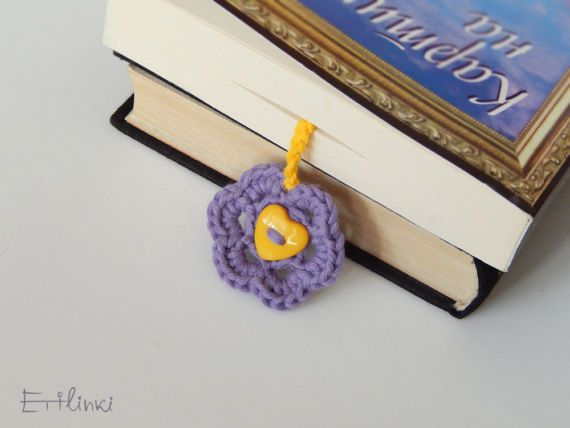 Purple flower bookmark unique Gift for girlfriend Book lover gift for sister Gift for girls Women teachers gift Violet flower accessory