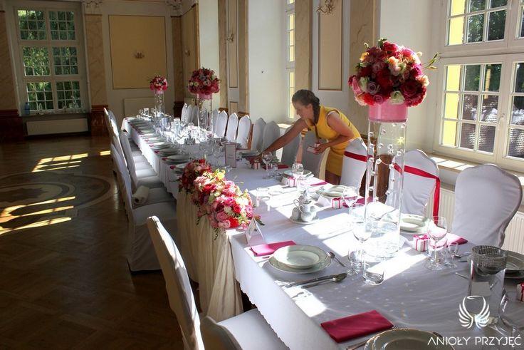 1. Pink Wedding,Centerpieces / Różowe wesele,Dekoracja stołu,Anioły Przyjęć