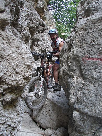Crossing the Santa Irene gorge (Φαράγγι Αγίας Ειρήνης)... by bike! http://cretazine.com/en/crete/travel-explore/crete-in-action/item/2032-crossing-the-gorge-of-agia-eirini-by-bike