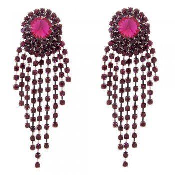 Talullah Tu - Beatrice Purple Layered Crystal Earrings