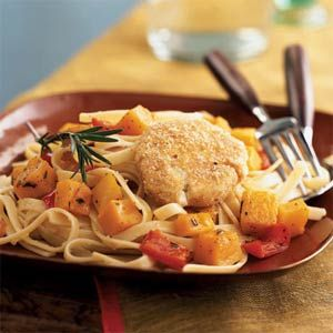 Baked Goat Cheese and Roasted Winter Squash over Garlicky Fettuccine | MyRecipes.com