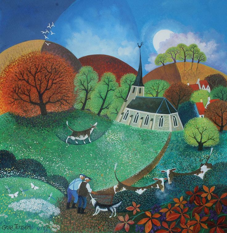 "Lisa Graa Jensen. ""All Creatures Great and Small"". Acrylic inks."