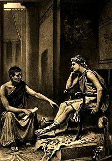 Alexandre, o Grande recebendo ensinamentos de Aristóteles.