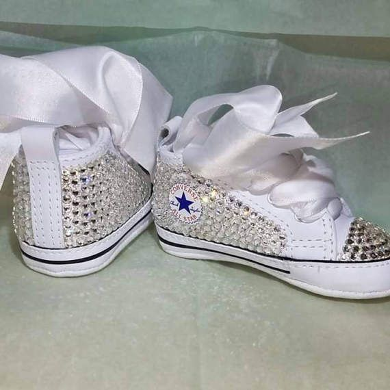 White baby Converse baby bling shoes bling baby shoes baby