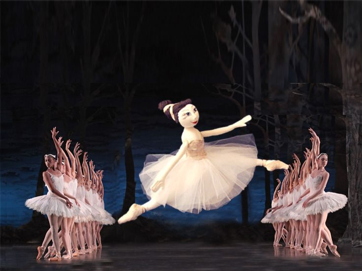 """""""The swan lake"""". Cloth doll made by PouPée-Pe."""