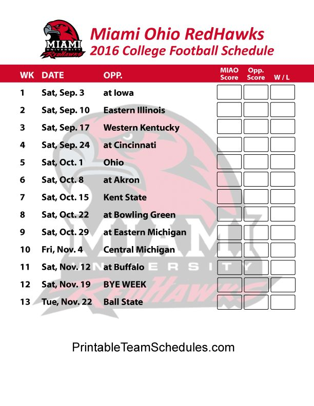 Miami Ohio Redhawks   2016 College Football Schedule Print Here - http://printableteamschedules.com/collegefootball/miamiohioredhawks.php