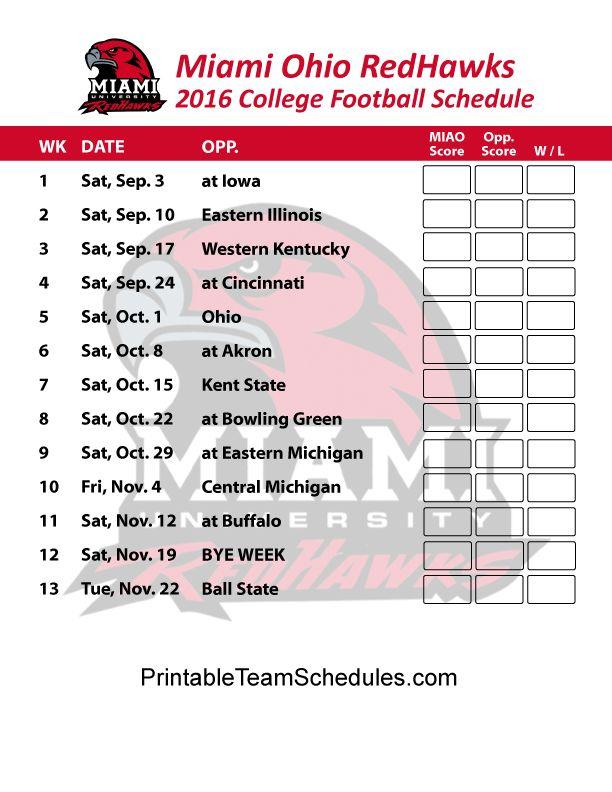 Miami Ohio Redhawks   2016 College Football Schedule Print Here - http://printableteamschedules.com/collegefootball/miamiohioredhawks.php