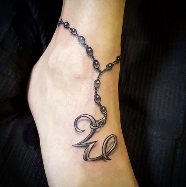 Ankle Bracelet Tattoo. #blackandgrey #ink #tattoos #foottattoos Contact flashfighters@me.com for bookings #doctorpete #anklet #W #rosarybeads