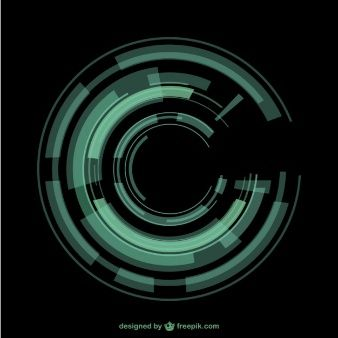 Green circular techno background