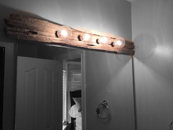 Custom Made Rustic Vanity Light  with 4 Bulbs by Barnwoodhouse