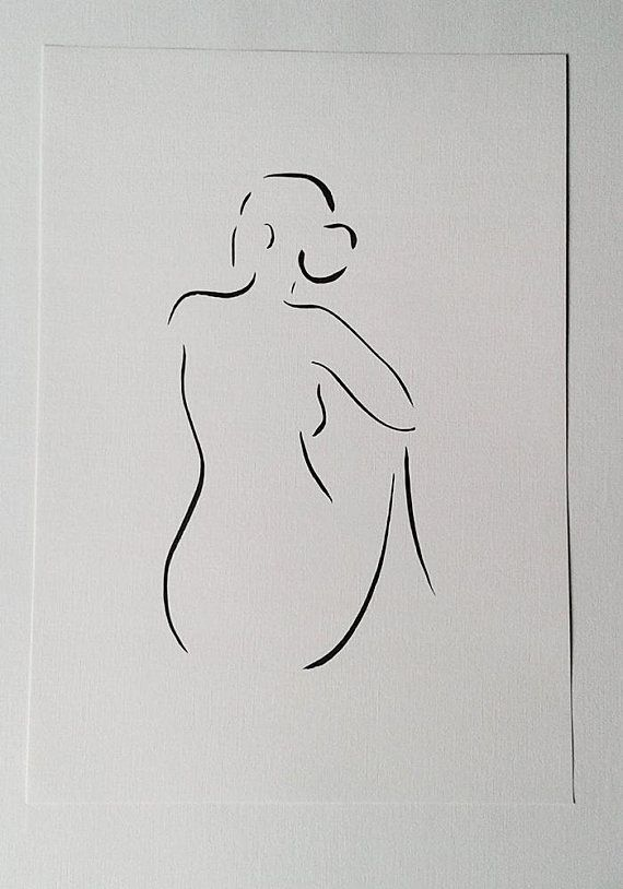 Nude sketch. Woman from back. Black and white minimalist line drawing. 16.5 x 11.7 in