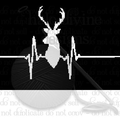 Heartbeat deer crochet graph