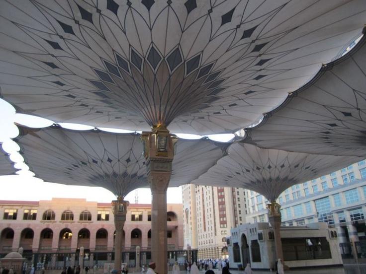 Big Hydraulic Umbrellas Around Masjid Nabawi