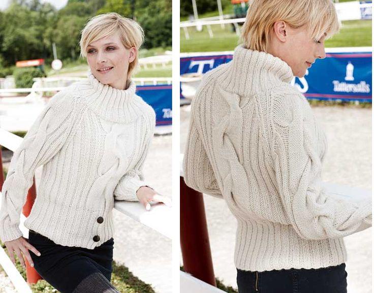 Белый свитер с широкой косой