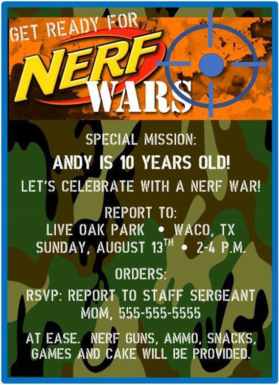 Nerf Birthday Invitation Gun Party Dart Bday Invite Camo Camoflauge Wars Digital Printable In 2019