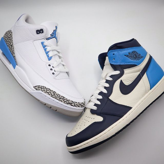 🧊🧊 • • • No customs today because we're in the process of moving but wanted to showcase two of my FAVORITE shoes in my collection. Who doesn't love a good UNC Colorway 🔥 • • • #airjordan #airjordan3 #airjordan1 #aj1 #aj3 #nicekicks #unc #northcarolina #mj #chapelhill #jumpman #jumpman23 #jumpmanhistory #legacy #history #basketball #nike #sneakers #sneakerhead #kicksoftheday #kicksdaily #kickstagram